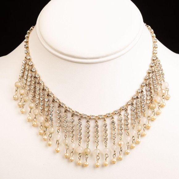 Vintage Rhinestone and Pearl Glass Beaded Necklace